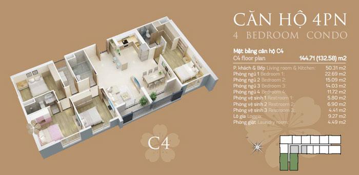 Mặt bằng căn C4-4PN- thiết kế căn hộ chung cư Mỹ Đình Pearl cho gia đình đa thế hệ | 3 - 4 phòng ngủ by kiến trúc Doorway