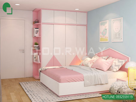 Thiết kế nội thất chung cư Bea Sky Nguyễn Xiển - căn hộ 2 phòng ngủ by kiến trúc Doorway, thiết kế nội thất phòng ngủ cho bé 2