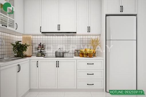 Thiết kế nội thất chung cư Bea Sky Nguyễn Xiển - căn hộ 2 phòng ngủ by kiến trúc Doorway, thiết kế nội thất phòng bếp