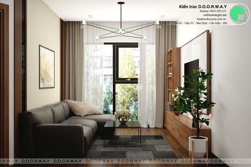 Thiết kế nội thất chung cư Bea Sky Nguyễn Xiển - căn hộ 2 phòng ngủ by kiến trúc Doorway, thiết kế nội thất phòng khách 1