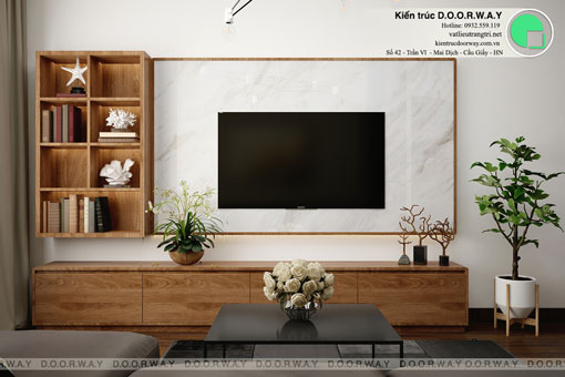 Thiết kế nội thất chung cư Bea Sky Nguyễn Xiển - căn hộ 2 phòng ngủ by kiến trúc Doorway, thiết kế nội thất phòng khách 2
