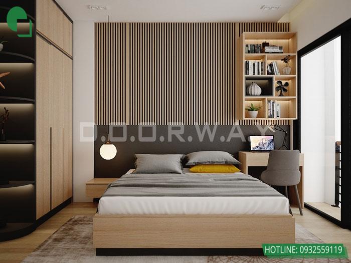 Top 10 mẫu thiết kế căn hộ chung cư 50m2 2 phòng ngủ đẹp nhất 2019 by kiến trúc Doorway, mẫu thiết kế nội thất phòng ngủ master góc 01