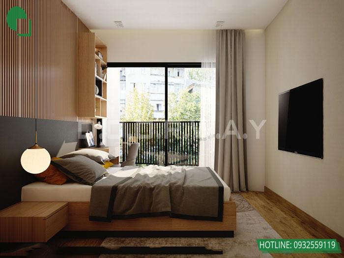 Top 10 mẫu thiết kế căn hộ chung cư 50m2 2 phòng ngủ đẹp nhất 2019 by kiến trúc Doorway, mẫu thiết kế nội thất phòng ngủ master góc 02