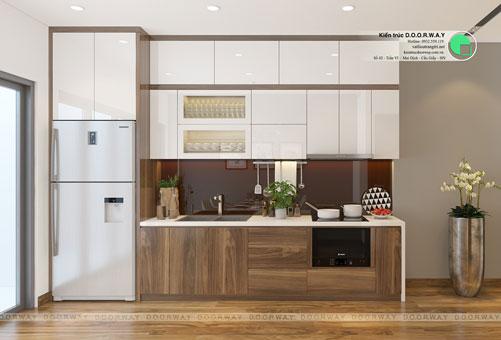 Thiết kế nội thất chung cư The Manor Central Park [Cập nhật 2019] by kiến trúc Doorway, thiết kế phòng bếp căn hộ 1 phòng ngủ