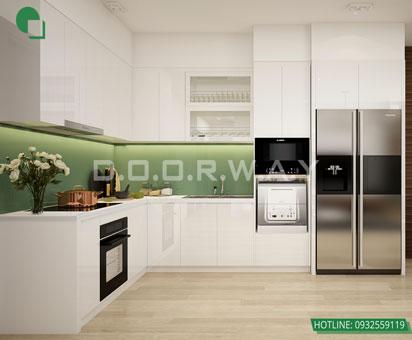 Thiết kế nội thất chung cư The Manor Central Park [Cập nhật 2019] by kiến trúc Doorway, thiết kế phòng bếp căn hộ 2 phòng ngủ
