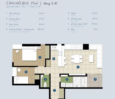 Thiết kế nội thất chung cư The Manor Central Park [Cập nhật 2019] by kiến trúc Doorway, mặt bằng căn hộ B1