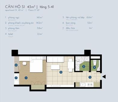 Thiết kế nội thất chung cư The Manor Central Park [Cập nhật 2019] by kiến trúc Doorway, mặt bằng căn hộ S1