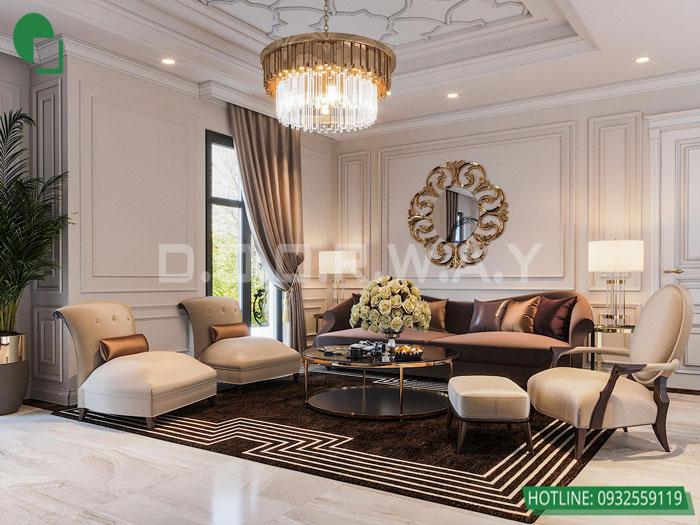 Thiết kế nội thất biệt thự tân cổ điển 180m2 tại Sơn La - mr Hồng by kiến trúc Doorway, thiết kế nội thất phòng sinh hoạt chung 01
