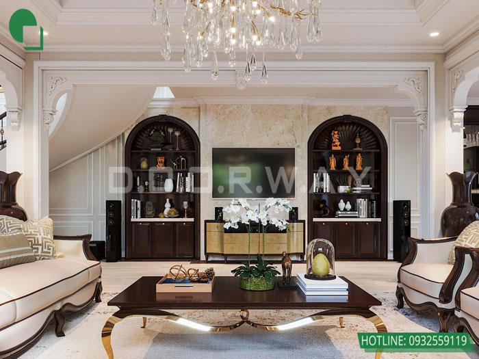 Thiết kế nội thất biệt thự tân cổ điển 180m2 tại Sơn La - mr Hồng by kiến trúc Doorway, thiết kế nội thất phòng khách 02