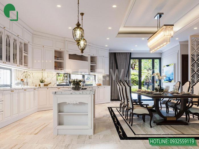 Thiết kế nội thất biệt thự tân cổ điển 180m2 tại Sơn La - mr Hồng by kiến trúc Doorway, thiết kế nội thất phòng bếp