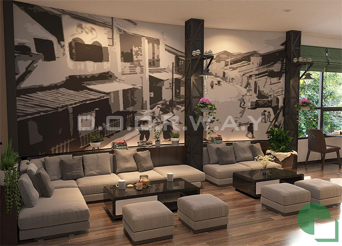 3- Mẫu thiết kế quán cafe 60m2 nhẹ nhàng và tinh tế giữ chân khách hàng