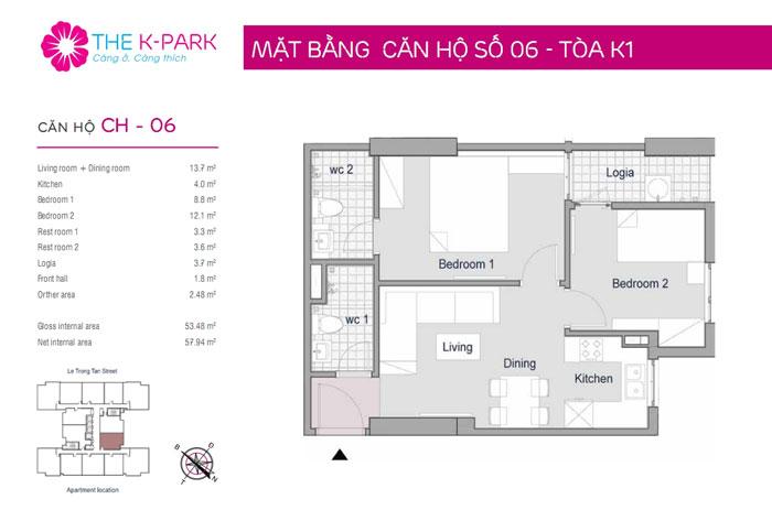 Mat-bang-2PN-53m2-Xem thiết kế nội thất chung cư The K Park Văn Phú - K1, K2, K3