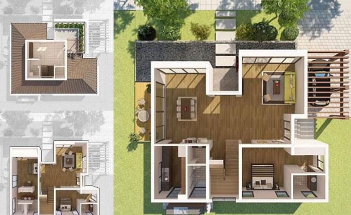 Mặt bằng phối cảnh nội thất-Khám phá 5 điểm đặc biệt của thiết kế nội thất biệt thự liền kề Ecopark