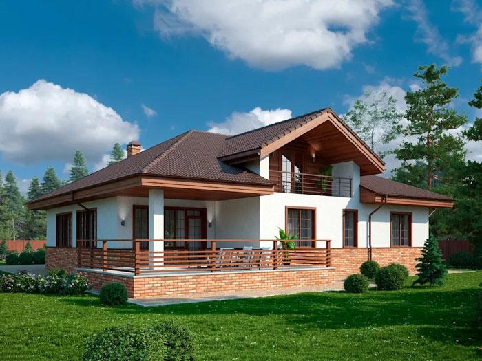 Mẫu nhà 13 - Những gợi ý thiết kế nhà 1 tầng 80m2 với 2 - 3 phòng ngủ đẹp mà tiện nghi