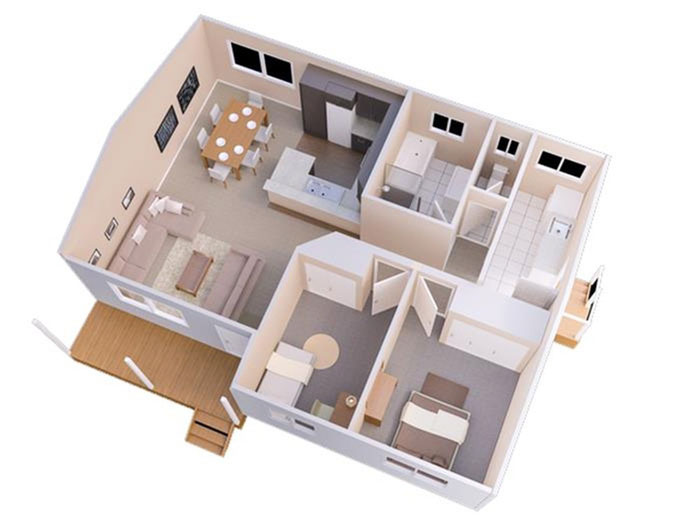 Mặt bằng - Những gợi ý thiết kế nhà 1 tầng 80m2 với 2 - 3 phòng ngủ đẹp mà tiện nghi
