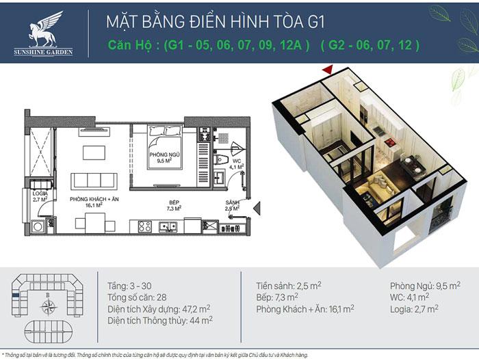 1PN-44m2- Full thiết kế nội thất chung cư Sunshine Garden __ Căn 1PN - 4PN