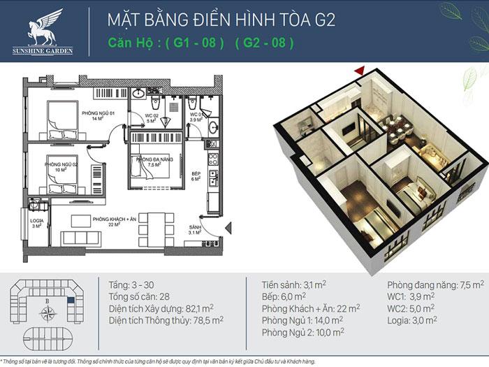 2PN-79m2- Full thiết kế nội thất chung cư Sunshine Garden __Căn 1PN - 4PN