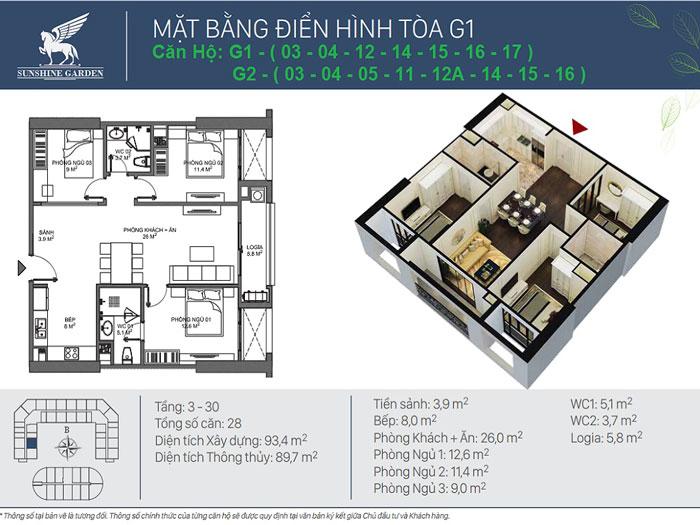 3PN-90m2- Full thiết kế nội thất chung cư Sunshine Garden __Căn 1PN - 4PN