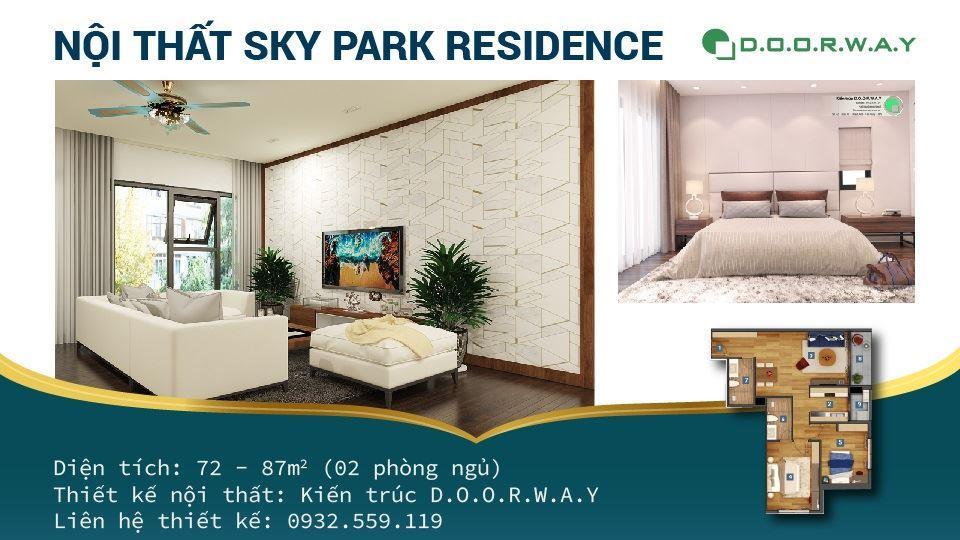 Ảnh tiêu biểu- Thiết kế căn hộ 2 phòng ngủ Sky Park Residence - Full nội thất các phòng