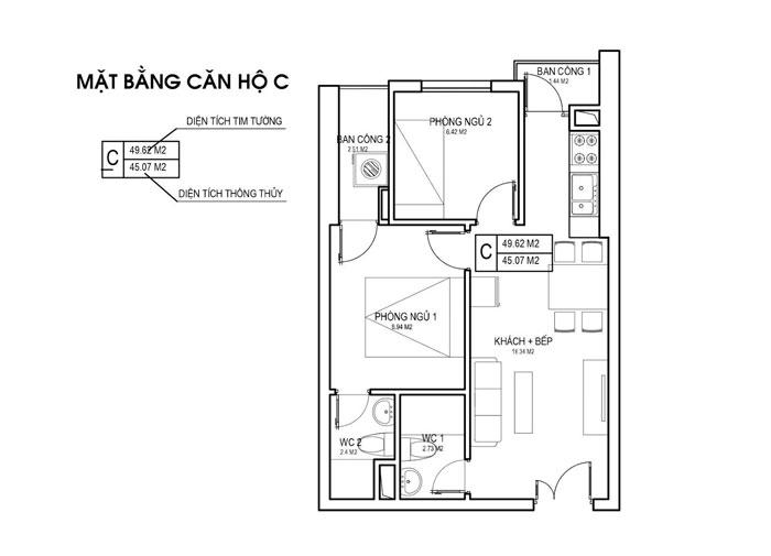 MBC- thiết kế căn hộ 45m2 FLC Green Apartment - Thiết kế nội thất