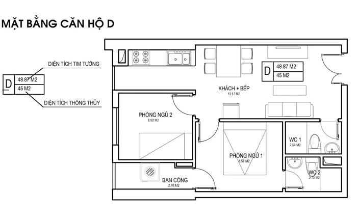 MBD- thiết kế căn hộ 45m2 FLC Green Apartment - Thiết kế nội thất