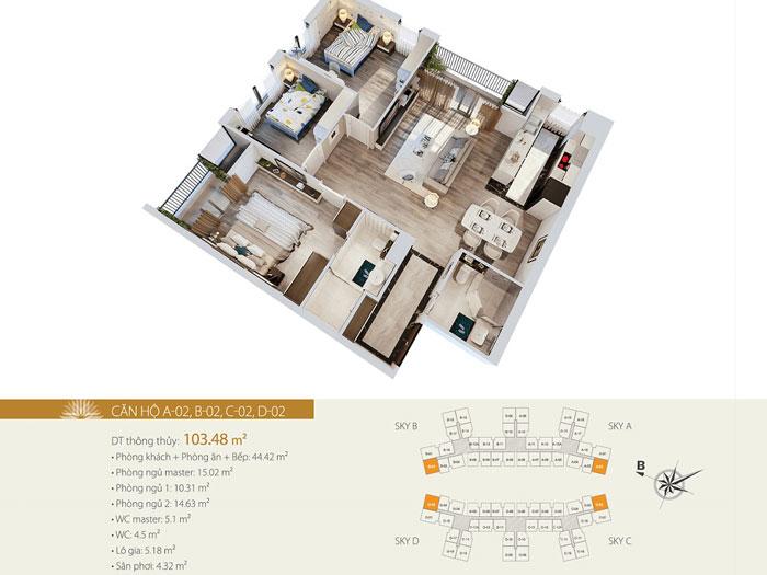 MB 103m2 3PN- Mẫu thiết kế nội thất chung cư Imperia Sky Garden - Kiến trúc Doorway