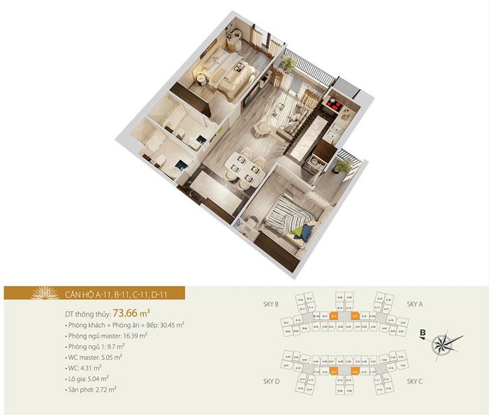 MB A11 74m2- Thiết kế căn hộ 74m2 Imperia Sky Garden - Căn hộ 2PN đẹp