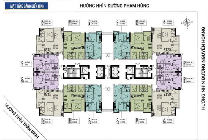 MB tầng- thiết kế căn hộ 45m2 FLC Green Apartment - Thiết kế nội thất