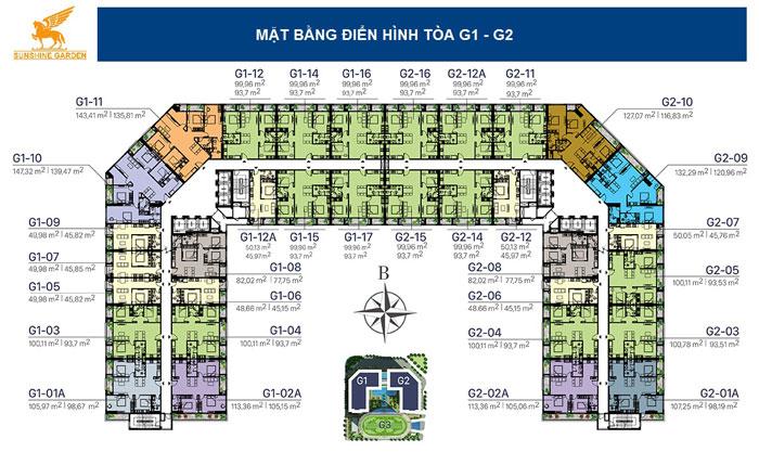 MB tầng- Full thiết kế nội thất chung cư Sunshine Garden __Căn 1PN - 4PN