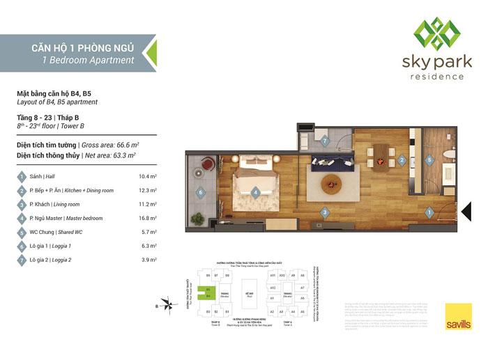 MB-1PN-63m2- Khám phá mẫu thiết kế nội thất chung cư Sky Park Residence - Tôn Thất Thuyết