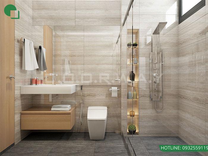 WC- thiết kế căn hộ 45m2 FLC Green Apartment - Thiết kế nội thất