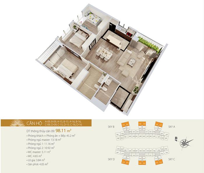 MB- Gợi ý thiết kế căn hộ 98m2 Imperia Sky Garden - Căn 3 phòng ngủ