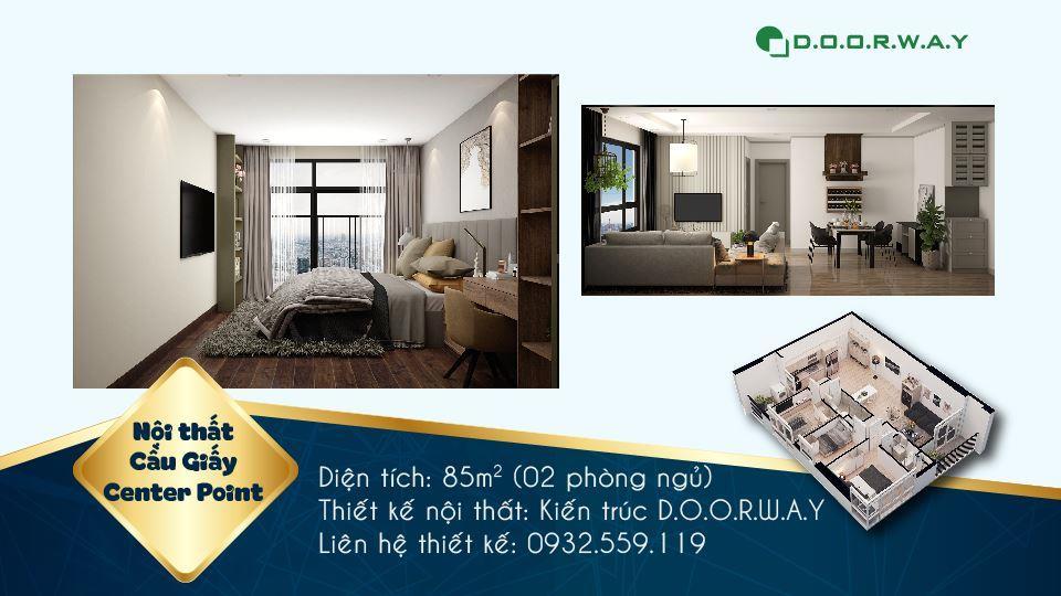 Ảnh tiêu biểu- Mẫu nội thất trong thiết kế căn hộ 85m2 Cầu Giấy Center Point