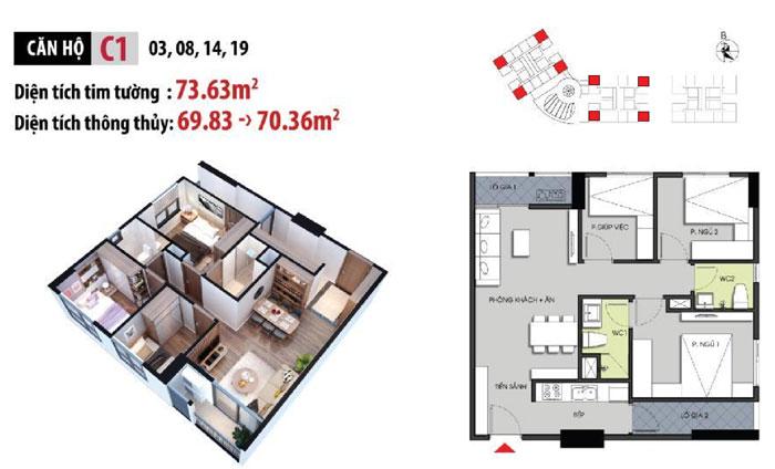 MB-70m2-3PN- Phương án thiết kế nội thất chung cư Hateco Apollo đẹp hiện đại