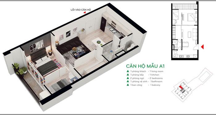 MB-A1-52m2- Thiết kế nội thất căn hộ 2 phòng ngủ 110 Cầu Giấy Center Point - New 2019