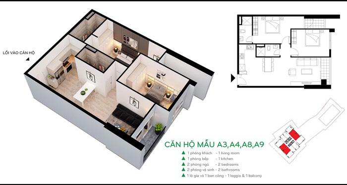 MB-A3-75m2- Thiết kế nội thất căn hộ 2 phòng ngủ 110 Cầu Giấy Center Point - New 2019
