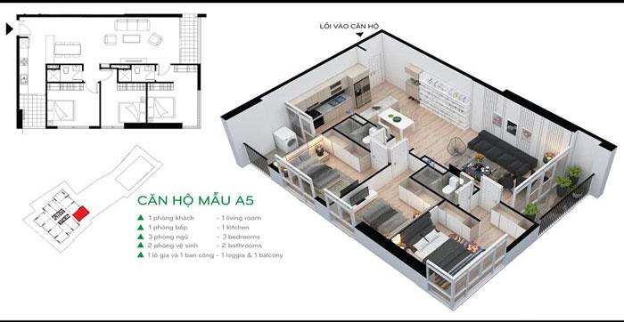 MB-102m2-3PN - 7 loại phòng trong thiết kế nội thất chung cư 110 Cầu Giấy Center Point