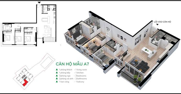 MB-127m2- Khám phá vẻ đẹp của nội thất căn hộ 3 phòng ngủ 110 Cầu Giấy Center Point