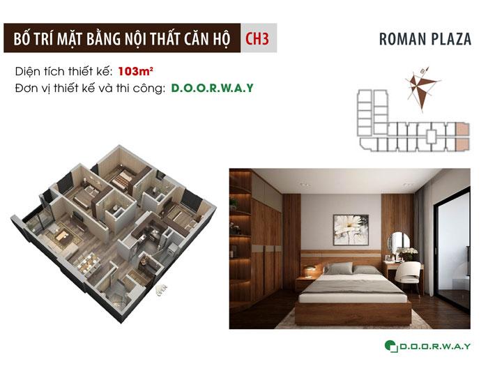 MB-103m2-3PN- Nội thất căn 3 phòng ngủ Roman Plaza cho gia đình nhiều thành viên