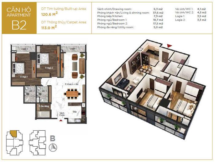 MB-113m2-2PN- Mách bạn cách chọn nội thất căn 113m2 Sunshine Center đẹp