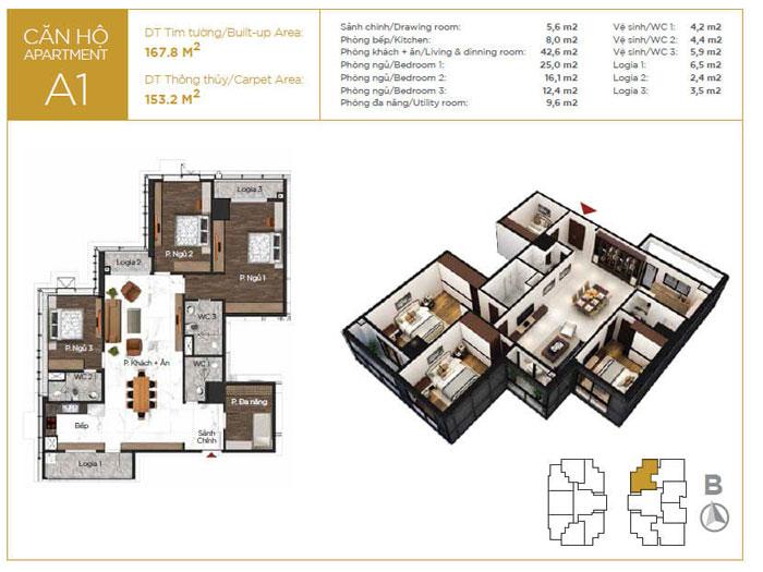 MB-153m2-3PN- Gợi ý mẫu nội thất căn 3 phòng ngủ Sunshine Center