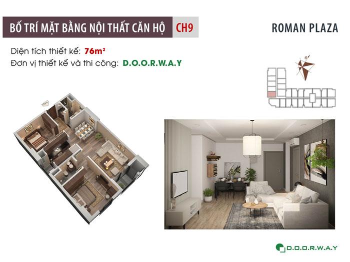 MB-76m2-2PN- Mẫu thiết kế nội thất chung cư Roman Plaza với nhiều sự chọn lựa