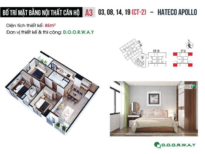 MB- Mẫu thiết kế nội thất căn 3 phòng ngủ Hateco Apollo