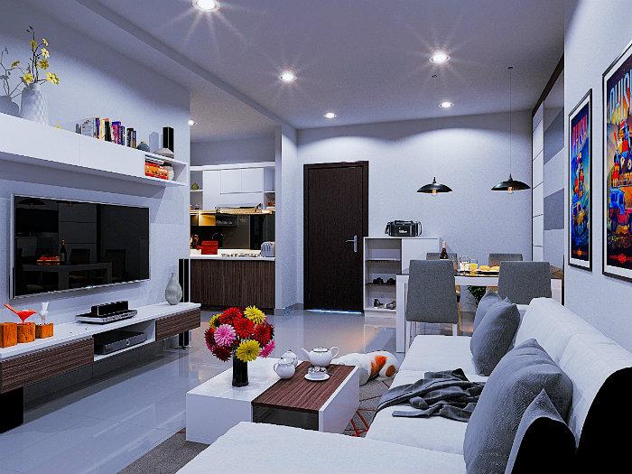 1- Giải pháp thiết kế căn hộ 48m2 2 phòng ngủ tối ưu không gian
