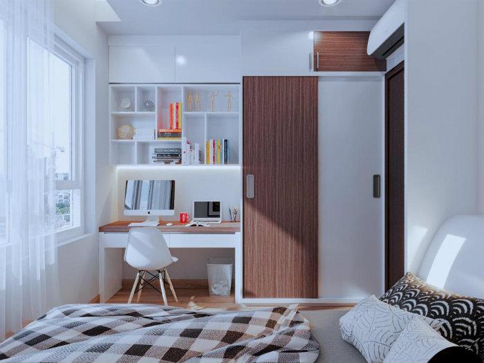 2- Giải pháp thiết kế căn hộ 48m2 2 phòng ngủ tối ưu không gian