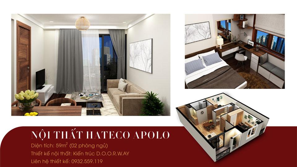 Ảnh tiêu biểu- Thiết kế nội thất căn hộ 59m2 Hateco Apollo - Căn hộ A1