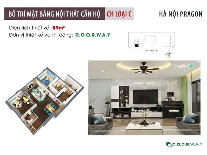 MB-89m2- Nội thất căn hộ 89m2 Hà Nội Paragon cho vợ chồng trẻ