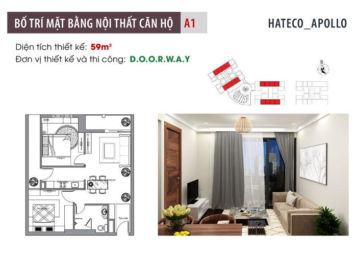 MB- Thiết kế nội thất căn hộ 59m2 Hateco Apollo - Căn hộ A1