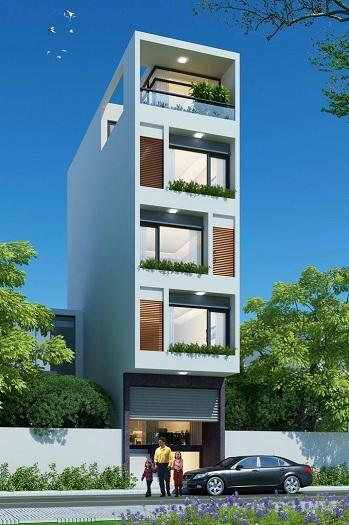 1- Mẫu thiết kế nhà 5x15m có thang máy full nội thất