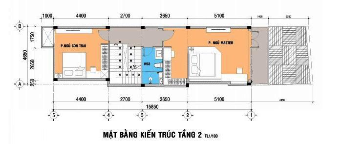 3- Mẫu thiết kế nhà 5x15m có thang máy full nội thất